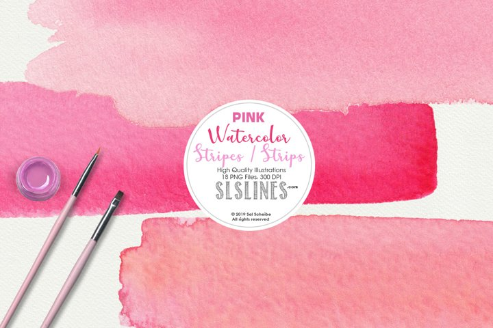 Pink Watercolor Headers and Stripes Clipart Set