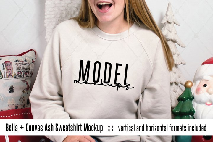 3901 Heather Dust Bella Canvas Christmas sweatshirt mockup
