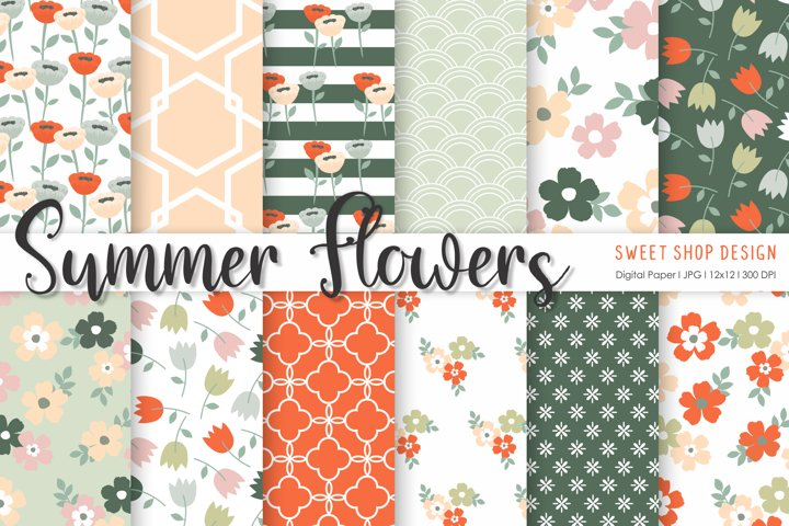 Digital Paper SUMMER FLOWERS, 12x12, Set of 12 Papers