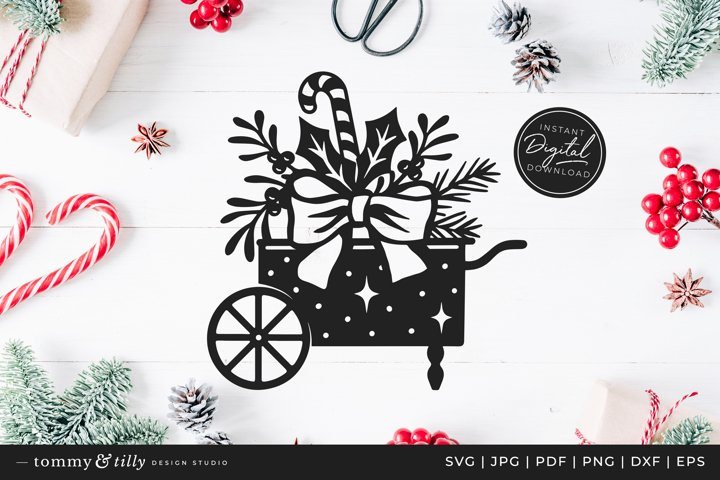 Christmas Cart - SVG DXF PNG EPS JPG PDF Paper Cutting