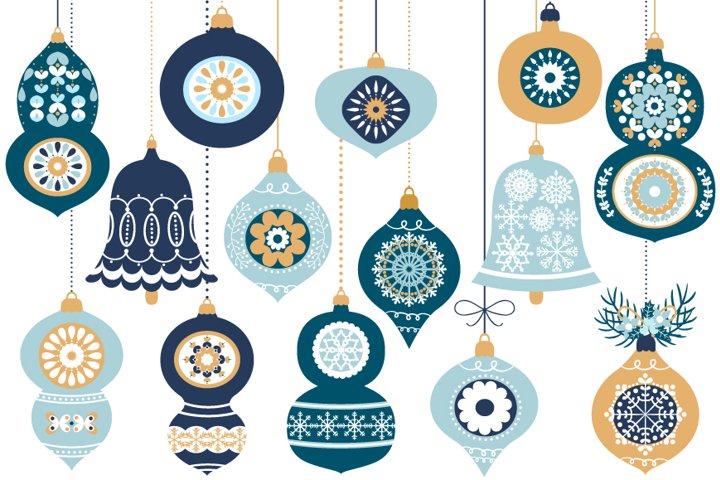 Blue Christmas Ornaments, Balls, Baubles, Bells Clip Art Set