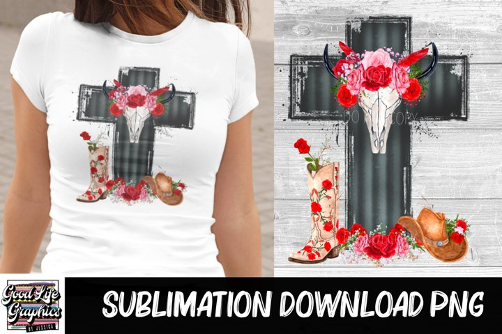 Sublimation Designs for t shirts-bull skull cross-PNG