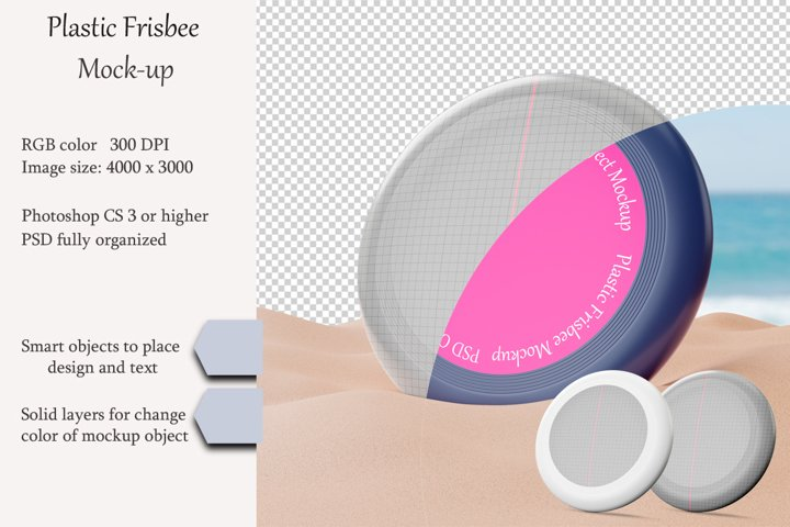Plastic Frisbee mockup. PSD object mockup.