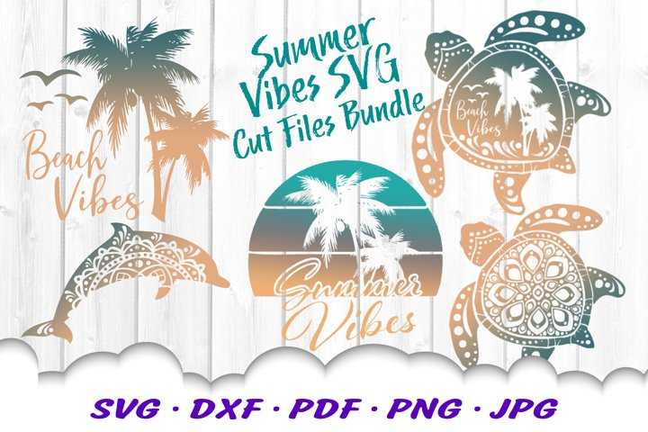 Summer Beach Vibes Turtle SVG DXF Cut Files Bundle