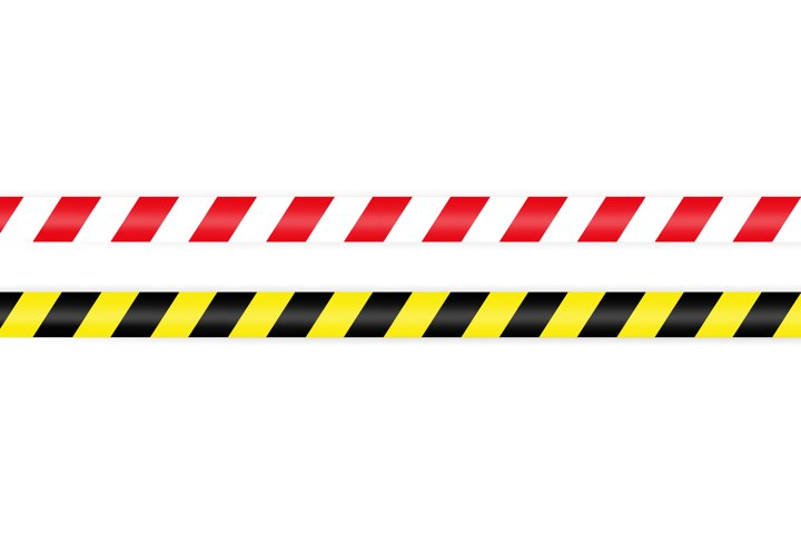 Warning barrier tape red white and yellow black. Tape pole