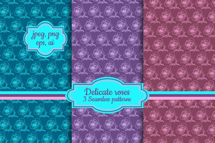Delicate roses digital papers| blue, pink seamless patterns