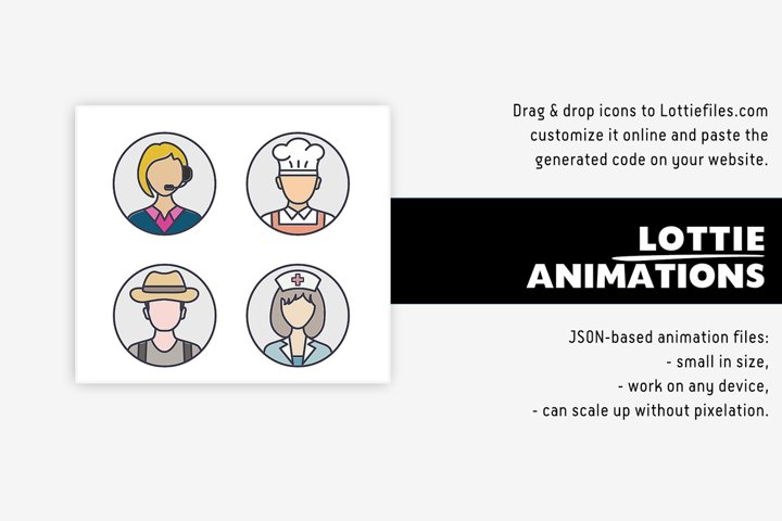 People & professions Lottie icons - 12 animations
