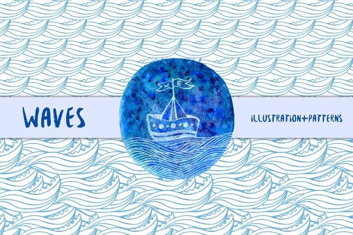 Watercolor waves pattern & Ship art