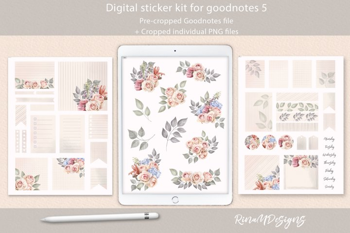 Roses goodnotes stickers. Floral digital stickers.