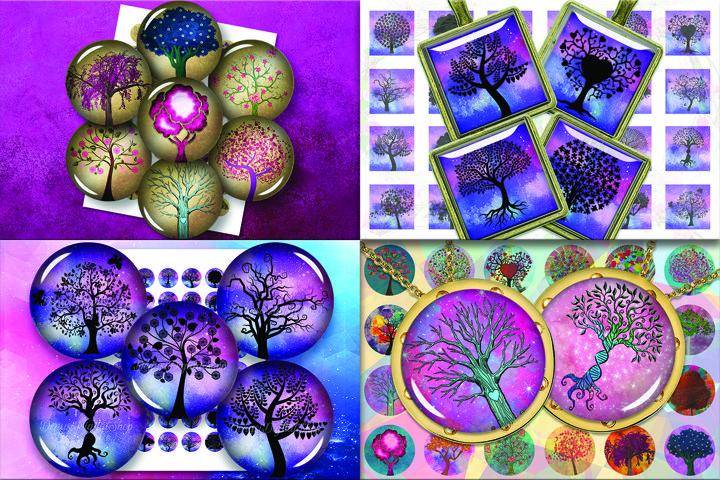 BUNDLE TREES OF LIFE, Tree silhouettes, DIGITAL TREE OF LIFE
