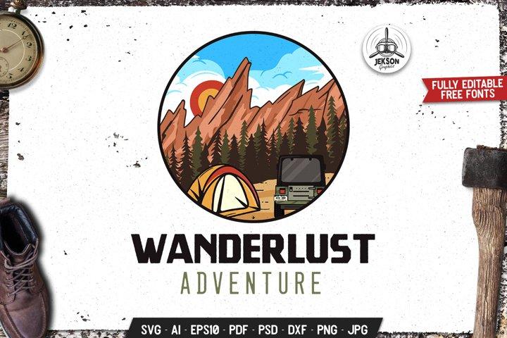 Wanderlust SVG Retro Logo Outdoor Adventure Label DXF PNG