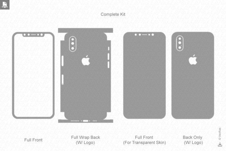 Apple iPhone XS Max Vinyl Skin Vector Cut File Template 2018