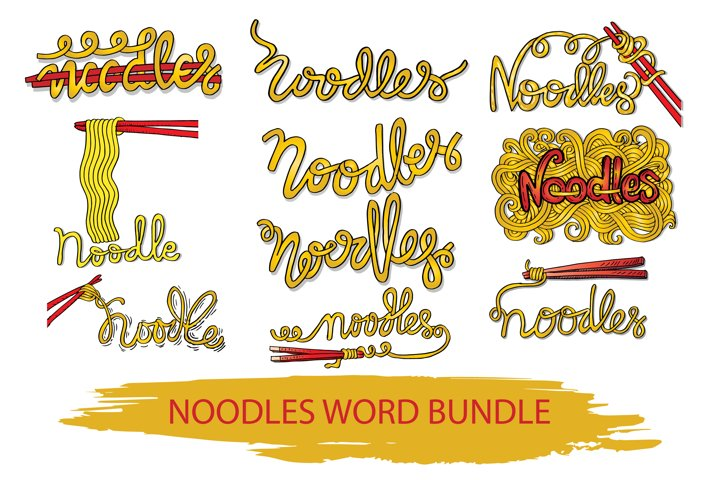 Noodle word hand lettering.