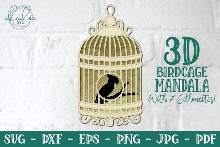 3D Birdcage Mandala, 3D SVG, Layered Mandala, Fairy, DXF