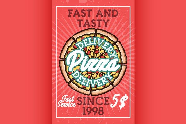 Color vintage pizza delivery banner