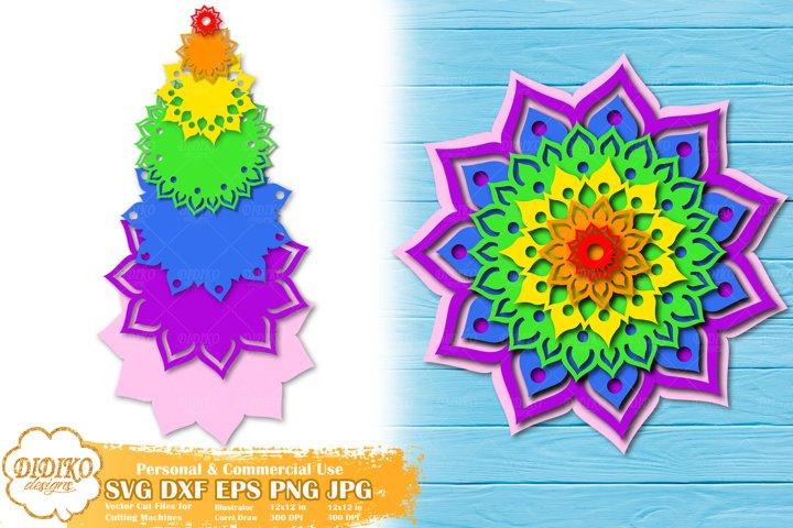 3D Mandala SVG | 3D Layered Mandala | Papercut Mandala SVG