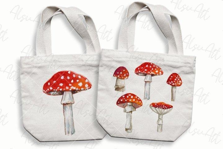 Watercolor amanita mushrooms