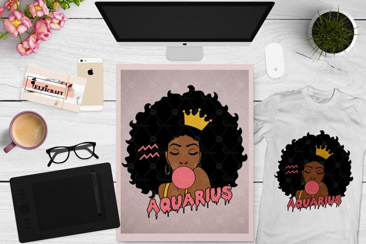 Zodiac, Afro Woman, Aquarius, Melanin Poppin, Afro Girl SVG