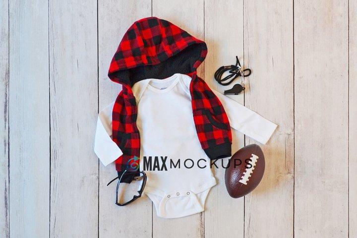 Baby bodysuit Mockup, buffalo plaid, football flatlay