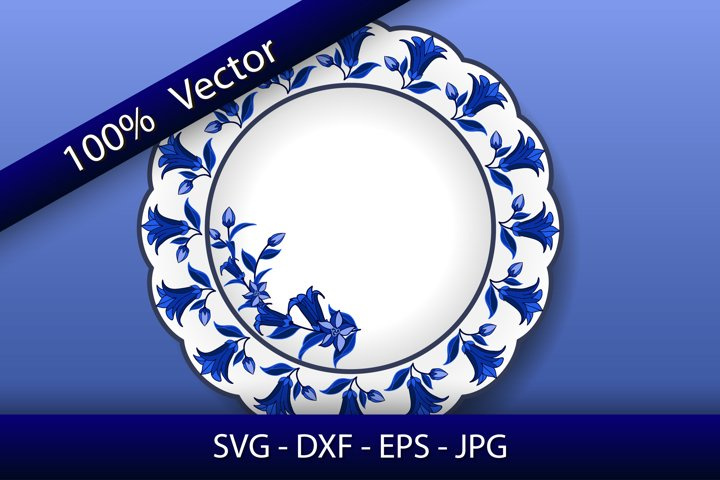 Decorative porcelain plate, floral blue on white pattern