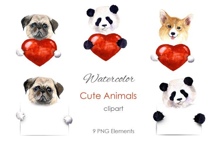 Watercolor Clipart. Watercolor animal. Cute animals