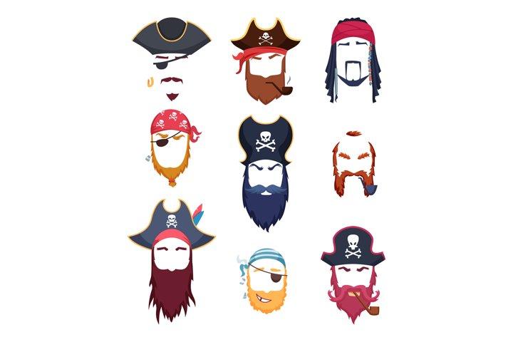Pirate masks. Carnival costumes element mustache hat beard h