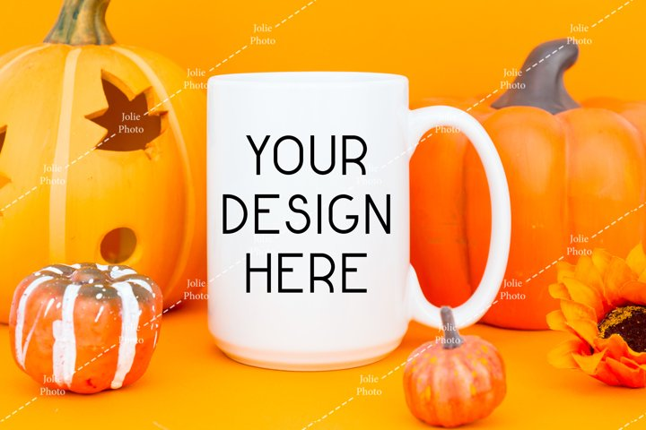 15 Oz Blank White Coffee Cup With White Handle Mug for Fall