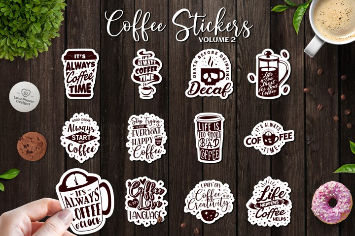 Sticker Bundle | 12 Coffee Stickers with White Border Vol2