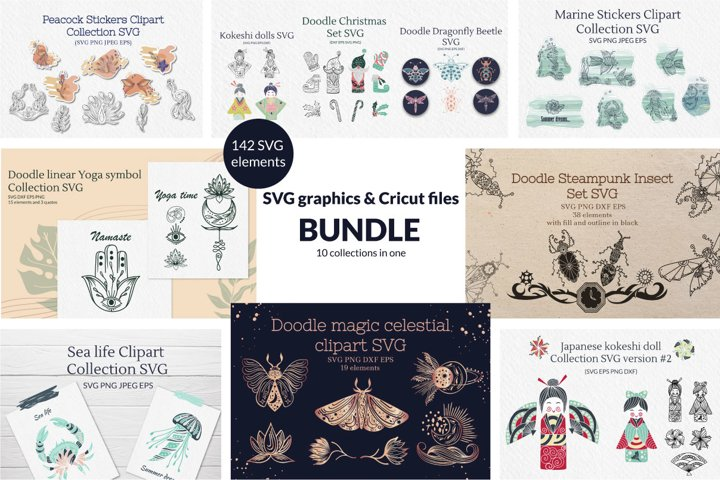 Doodle linear SVG graphics & Cricut files Bundle