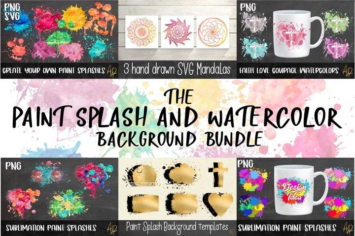 Background Watercolour|Paint Splash PNG/SVG bundl