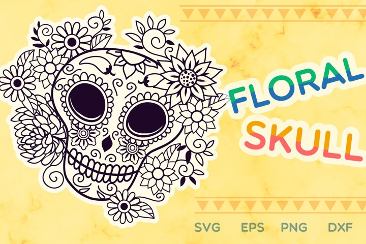Floral Skull SVG cut file