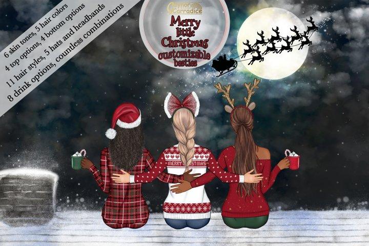 Christmas besties - Customizable best friends clipart