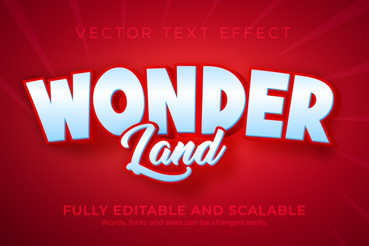 Wonder editable text effect, 3d editable red and white text