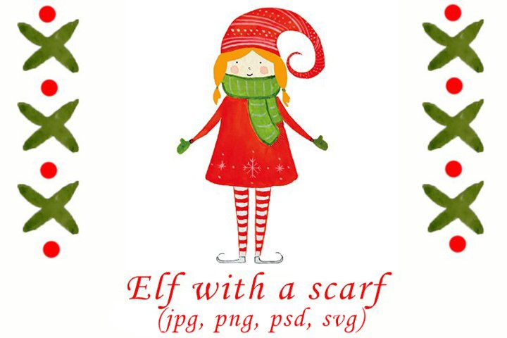 Watercolor Christmas elf with a scarf