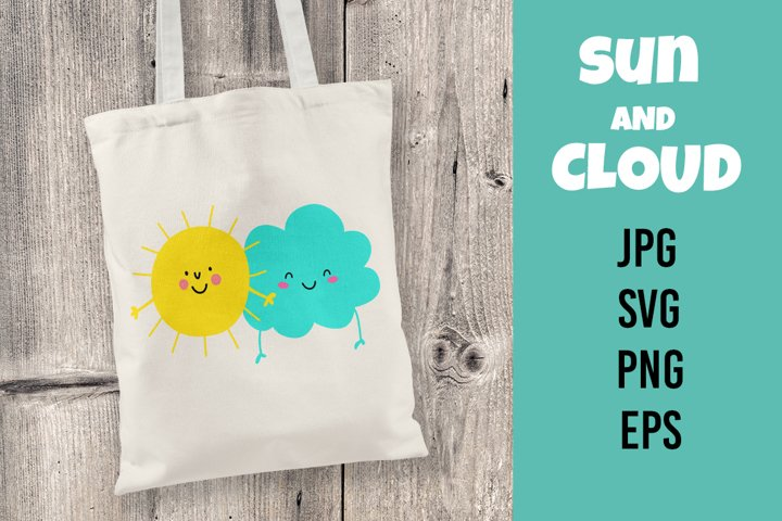 Cute sun and cloud. Vector illustration. SVG/PNG/EPS/JPG