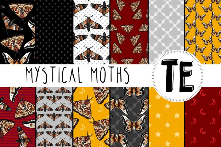 Mystical Moths Digital Paper Pack. 12 Seamless Patterns.