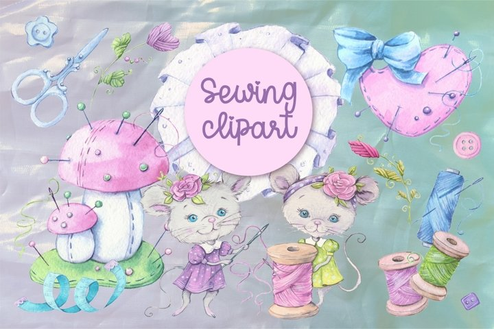 Sewing accessories and sewing mouse characters