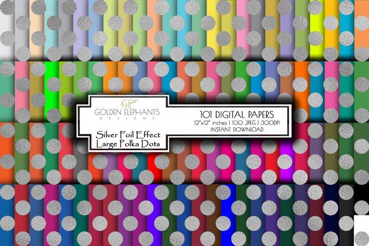 100 Silver Foil Effect Large Polka Dot Digital Paper, Seamle