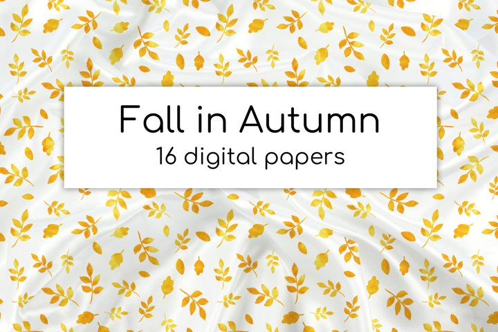 Autumn watercolor digital papers | Gold leaves and geometry