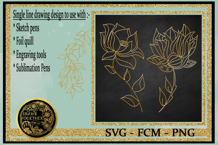 Abstract flowers set 2 - Single line for foil quill
