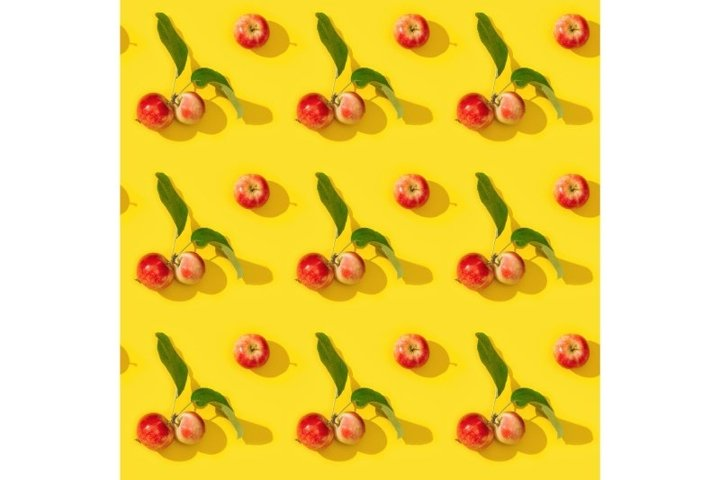 Small red apples seamless pattern