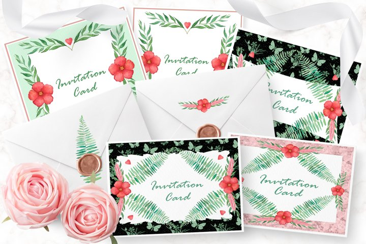 Set of 12 invitation cards and 7 seamless patterns