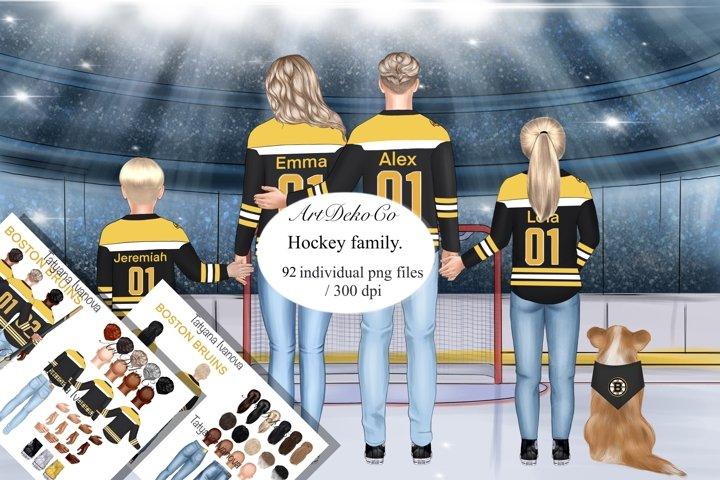 Custom Clipart, Boston Bruins Family Portrait