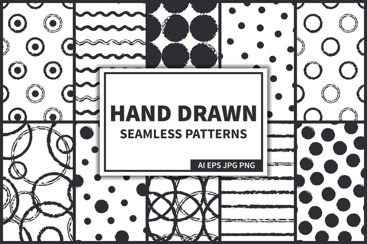 Ink Hand Drawn Seamless Patterns Set