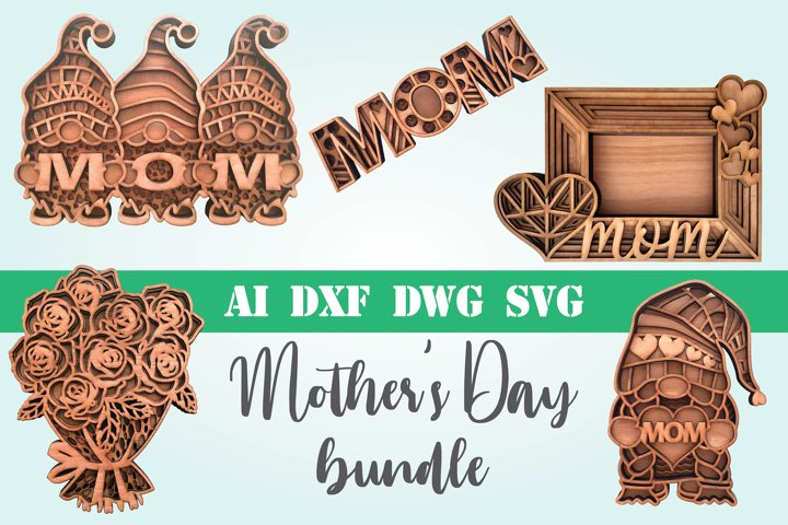 Bundle Mothers Day layered 3d svg dxf Multi layer mandala