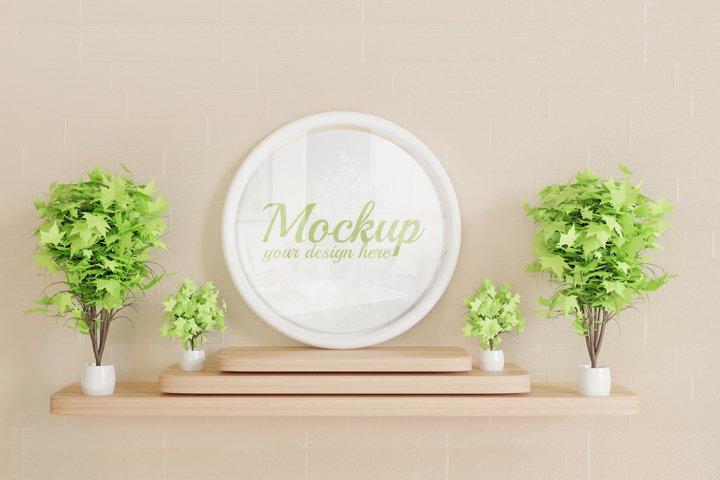 circle white frame mockup on wooden wall desk