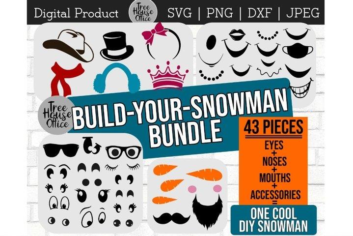 Snowman Faces SVG, Build Snowman Cut File, Create A Snowman