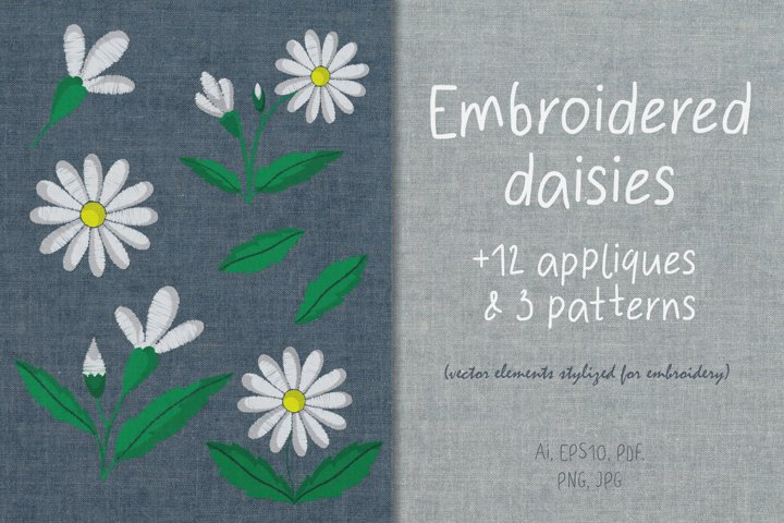 Set of chamomile flower elements with embroidery stylization