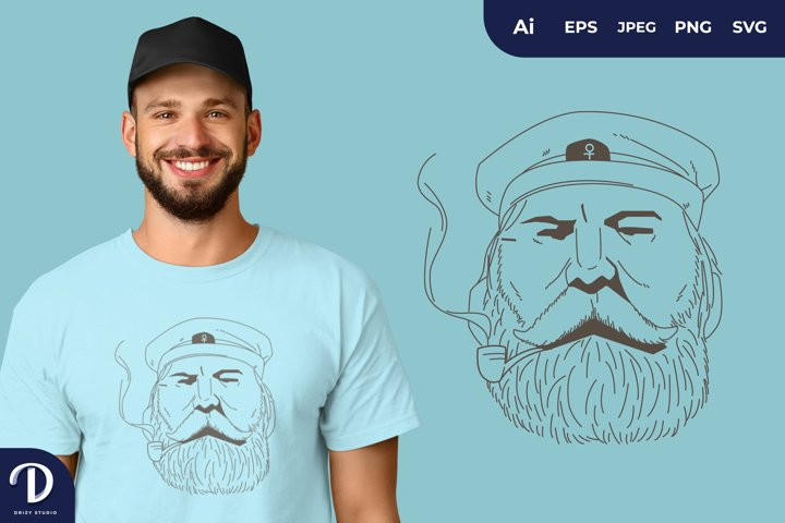 Captain Sailor with Smoking Pipe for T-Shirt Design
