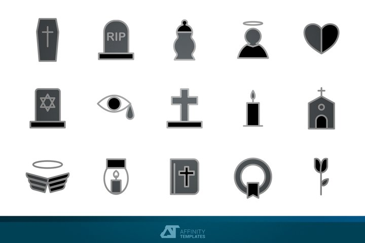 Mourning Funeral Icons Vectors